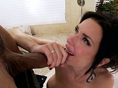 Rich breasted black haired hooker Veronica Avluv teases with her gorgeous well stacked body after taking a bath and later eagerly blows huge and thick BBC.