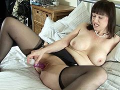 Horny british milf dildoying