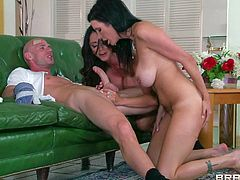Johnny Sins was dreaming about hot trio with two delicious juicy brunette vixens and today his dream comes true with mind-blowing glamourous chicks Shay Sights and Ariella Ferrera