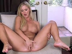 Busty blonde Natalie Nice with smooth pussy