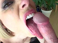Experienced blonde Adrianna Nicole gets face fucked