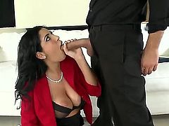 Jada fired one of her idiotic employees. But hes a real charmer, and he used his skills to get back into her good graces ... and to get his cock into her MILF mouth. Yum!