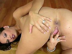 Long haired bombshell Eve Angel gets herself naked and caresses her wet pussy in the doggystyle