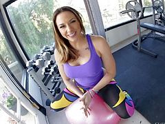Sexy and arousing babe with curvaceous body Chanel Preston does some really dirty and arousing poses on her photo shoot in the gym and has lots of fun in showing her booty