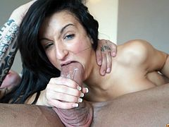 Skinny and sexy brunette rides big dick on top. Closeup video shows the penetration process really well. This kind of a slut is hard to please!