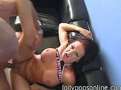 The randiest slut ever called Tory Lane is going to do what she loves doing most: having sex. See how she sucks the dick and gets her pussy fucked hard in this clip.