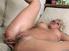 Lewd blonde Janny fingers her snatch and smashes it with a bat. Then she pleases her man with a nice blowjob and they abng in side-by-side position and doggy style.