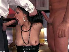 Samia Duerta is a kinky Spanish brunette who loves dick sucking. She gives deep blowjob to two dudes and gets her asshole licked at the same time. Watch raven haired dick sucker Samia Duerta get double used.