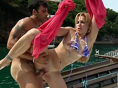 Sarah Lopez is getting fucked in her anal on the boat