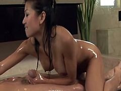 Nuru massage done by astounding Asian Babe