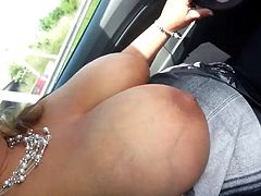 My wife loves driving with her big beautiful and heavy breast hanging out her dress and see what this does to me