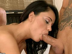 Seductive black haired strumpet Adia Sweet moans with pleasure while huge stiff pecker penetrates her tight booty hole.