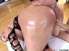 This deliciously hot booty is from Texas and she is a wild honey. Babe pleases him first in a wild blowjob and then gets fucked so hard.