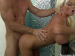 He finds landlord Nikita Von James taking a shower in the morning. White haired sexy milf with huge perfect tits and firm hot ass turns him on and he inserts his dick in her pink hole.