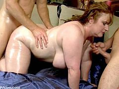 Seanna Rae is a busty plumper with big titties and a fat ass! SHe is ready to fuck her son's friends in this hot threesome action!