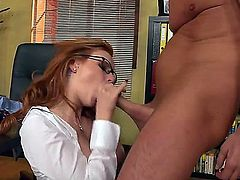 The guy is lucky to be this hot babes boss, as he commands Tarra White to please him in every way possible. David Perry knows what he wants to get from this babe.