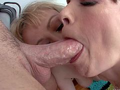 Adrianna Nicole and Dana Dearmond are two naked porn divas with natural tits who get throat fucked on their knees. They take thick dick so deep and gag. Watch two women get skull fucked.