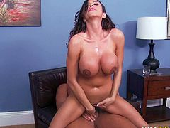 Perfect bodied milf brunette Ariella Ferrera with huge boobs is a slutty hostess who does her best to make her guests happy. Rocco Reed is a lucky one. He eats and fucks busty ladys hot pussy with passion.