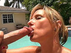This is wonderful day for the lovely mature vixen Jodi West. She tans, then swims in the swimming pool, and the sweet blowjob concludes her nice leisure. Nothing can be better than the feeling of hard prick in the mouth.