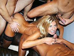 Attractive striptease and team shagging