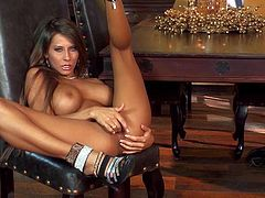 Madison Ivy is a stunning beauty with big boobs. Adorably sexy stacked model in shoes shows off her assets and finger fucks her snatch. Well-endowed breathtaker loves to play with herself.