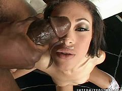 This charming ebony babe gets a huge black dick. She blows it first and then sits on him with love. Babe loves riding huge cocks.
