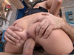 Devilish skank Aliz gets drilled deep in her asshole right in a kitchen