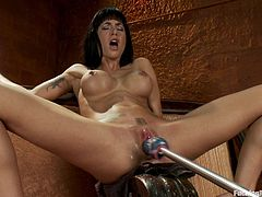 The hot sexy brunette MILF with big tits and hot body is called Gia Dimarco. And today we see her having a blast with toys, vibrators and machines that make her cum.