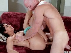 Aroused tight ass black haired milf Isis Lover with fake tits and great oral skills sucks bald fucker Johnny Sins with tight muscled body and gets his rock hard shaft deep in her hairless cunny