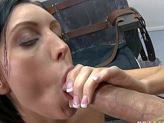 Dylan Ryder is a beautiful dark haired milf with great cock sucking experience. Big boobed brunette sucks big sturdy cock in the middle of her empty room before man licks her twat.