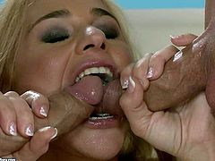 Big ass blonde Cathy Heaven gets nailed in rough threesome