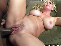 This kinky and horny blondie with sexy ass gets over that huge black dick and takes it in her holes. After some insertions babe eats his cum.