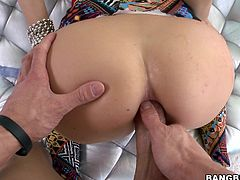 Leah's a hot honey with a nice, round ass. She loves it when I tongue her bung and use toys on her, especially if she's getting her pussy fucked as well. She really enjoys it when I slide my hard cock in between her cheeks and start pumping her dumper with my sausage. She cums harder from anal!