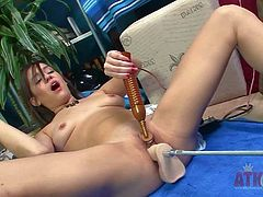 Check out with curious impudent babe Alexa Amore and her solo performance with monster sex-machine which destroying her tiny saturated pussy