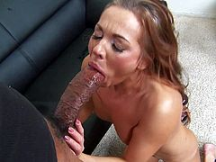 Naked slim Russian milf Claudia Atkins gets down on her knees in front of well hung black guy and sucks his massive cock. She gets her experienced mouth stretched by thick ebony dick.