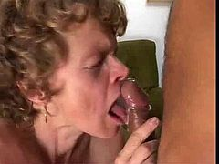 Younger guy fucks a hairy and floppy breasted mature in her hairy cunt and ass and finally gives her an oral creampie