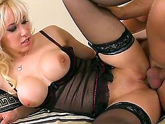 Hot blonde Karlie has juicy plump ass which is so sweet and soft that her horny lover cant resist himself and stuffs his hard and burning dick inside it and drills up to the end