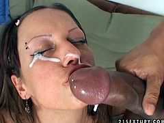 Real whore gives a real hot blowjob and gets a facial
