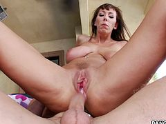Super luscious and sexy babe Alia Janine is so wild about huge cocks. She gets that hard dagger in between her tits and then gets drilled for a massive creampie at the end.