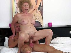 Effie is a curly haired granny that loves hardcore sex so fucking much. She gets her hairy twat drilled balls deep by hot blooded young guy. Watch aged bitch get banged on the bed.