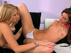 Here we see two hot young gals, Antonya and Ariella, making out, dry humping, and even going so far as to do a little fingering. Will they eat pussy, too Click play and see.