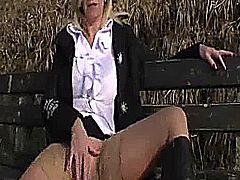 Extreme mature slut has her cavernous heavily pierced vagina fist fucked outdoors in a snowy forest