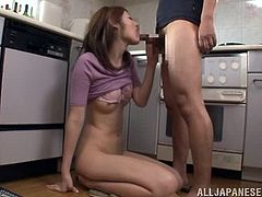 This guy knows his buddy's mom is horny as hell so he takes advantage of it and bags her in the kitchen.