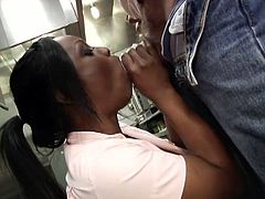 Jada Fire sucking a fat dick, all the way back in the kitchen, working that thing with her mouth, running her lips up and down the shaft, hungry for more.