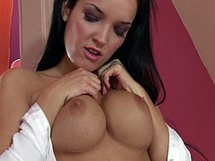 Her nature is a hardcore sex. But it want take place in this porn video. This time gorgeous Esmeralda will have to help herself reaching the zenith of orgasm.