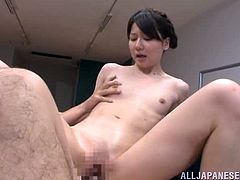 Skinny Japanese girl Yurika Miyaji is playing dirty games with two dudes. She sucks and rides their hard pricks and gets her coochie filled with jizz.