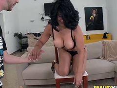 She's a brunette that has some really nice curves. Sophia, a big booty whore that never says no to a hard cock. The guy puts her ass on a chair to give us a good sight of it and then plays with her pussy until she burst with lust for cock. Look at her how nice she gives head, doesn't she deserves semen for that?