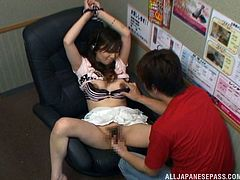 Adorable Japanese chick with slim body undresses and gives a blowjob. Then she gets her vagina licked and drilled.