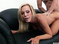 Awesome and curious blonde abbe with trimmed kitty is having hardcore fuck on the sofa