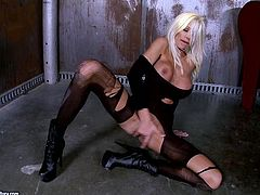 Lewd blonde Puma Swede is getting naughty indoors. She boasts of her big fake tits and pleases herself with fingering afterwards.